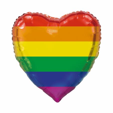 Giant Heart folie ballong regnbåge 92 cm - 296