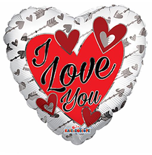 I Love You folie ballong - solv / rod Hjärtat Ballonger