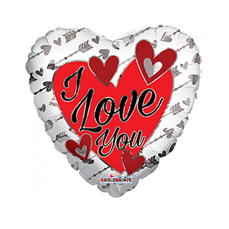 I Love You folie ballong - solv / rod
