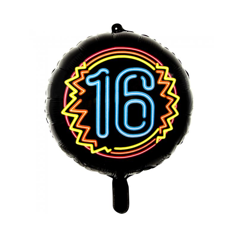 """Svart neonfolie ballong 18 """""""
