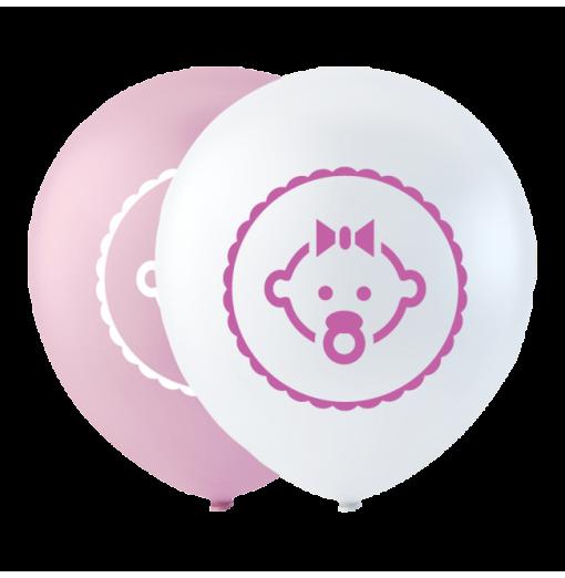 """Dotter ballong rosa 10 """" Ballonger med tryck"""