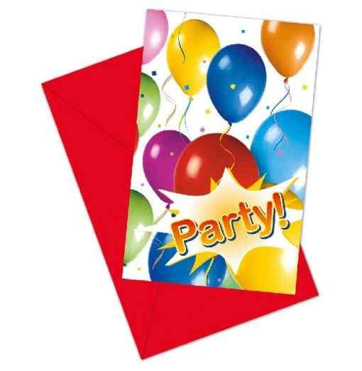 Inbjudningar med ballonger och fest Inbjudningar