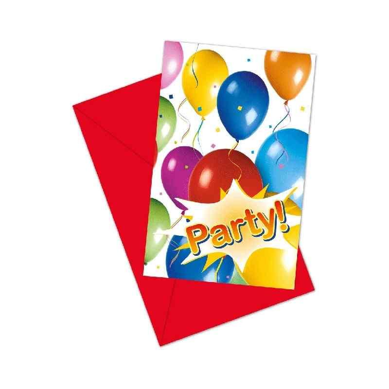 Inbjudningar med ballonger och fest