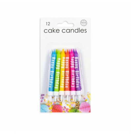 """12 ljus """"Grattis på födelsedagen"""" Ljus för tårta"""
