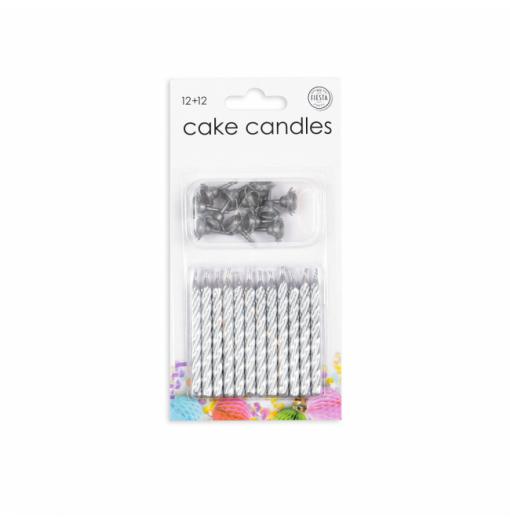 12 tårtljus och hållare i silver Ljus för tårta