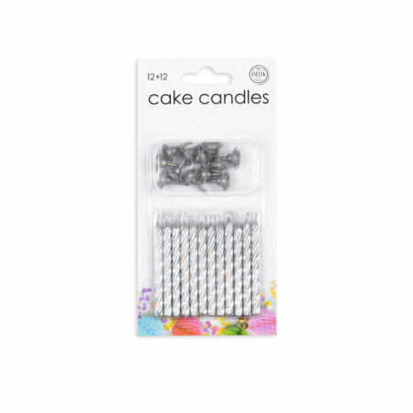 12 tårtljus och hållare i silver - 781