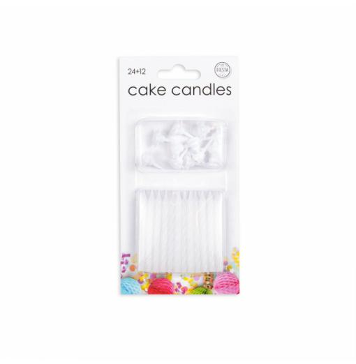 24 tårtljus i vitt Ljus för tårta