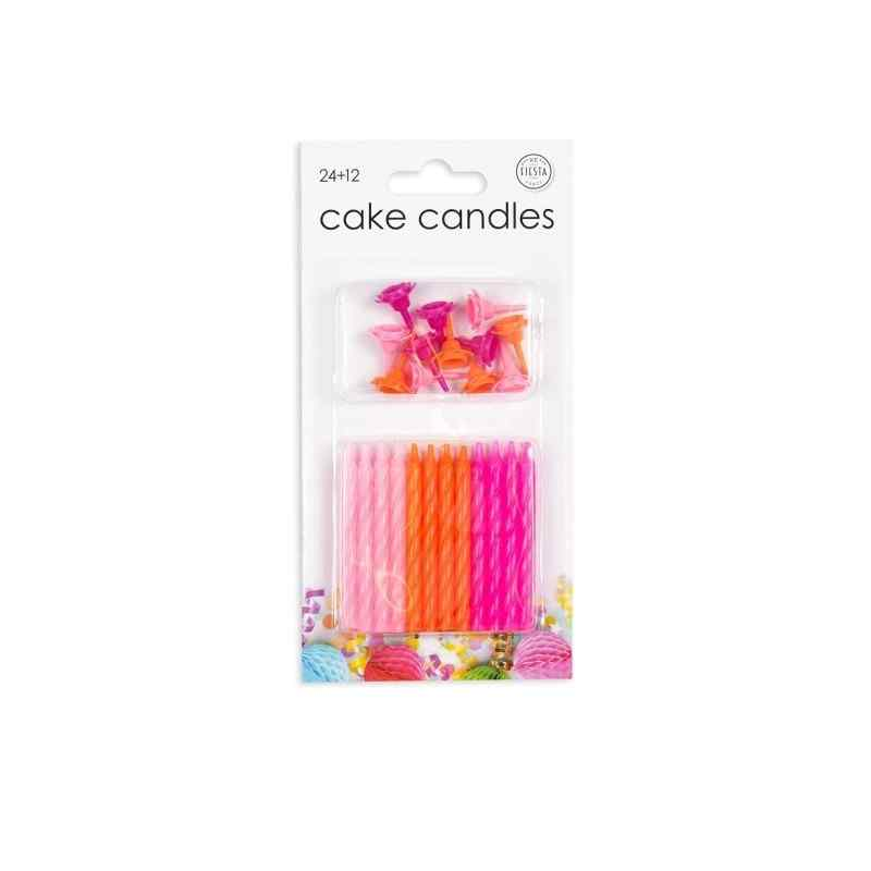 24 tårtljus i rosa