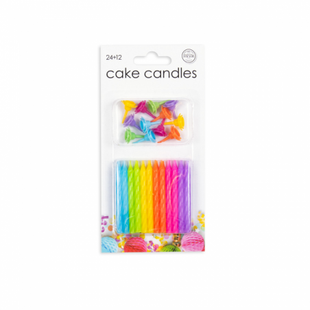 24 tårljus i blandade färger - 785