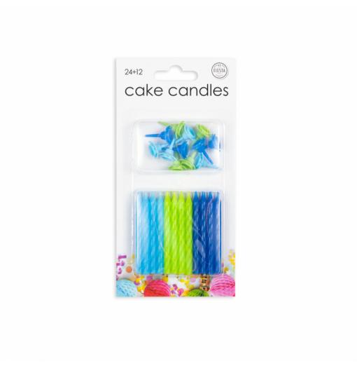 24 tårljus i blå färger Ljus för tårta