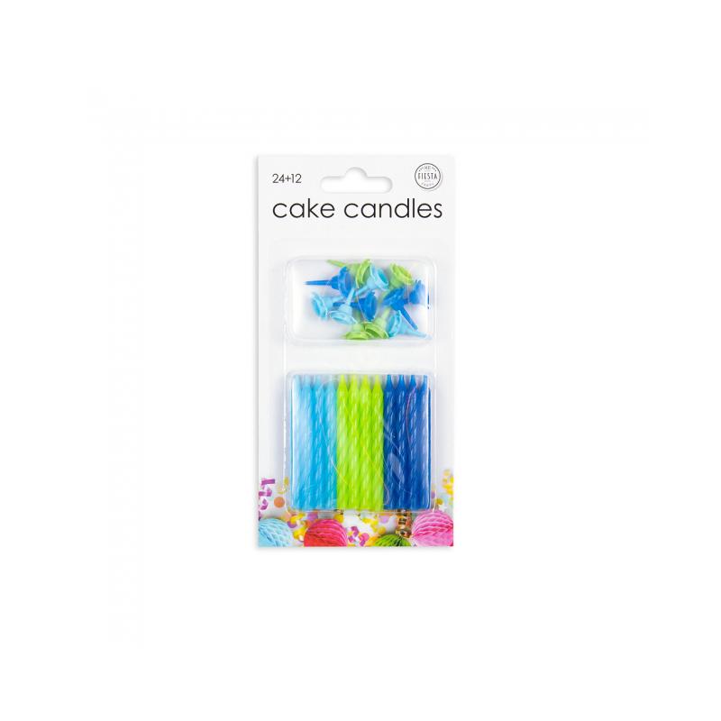 24 tårljus i blå färger