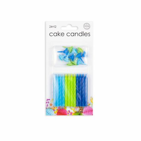 24 tårljus i blå färger - 786