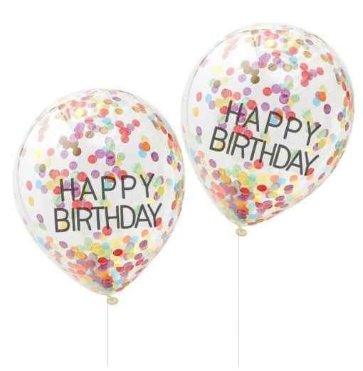 """Happy Birthday"" Regnbue Konfetti Balloner Födelsedag"
