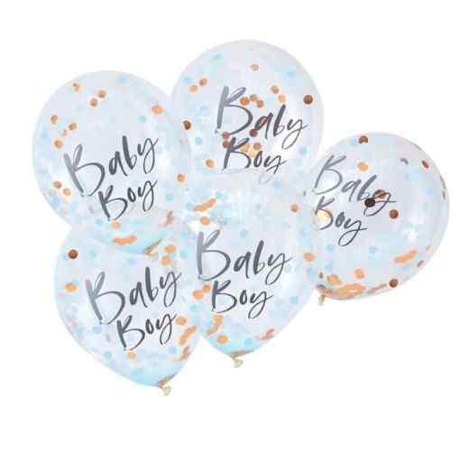 """""""Baby Boy"""" Blå/Guld Konfetti Ballon Baby shower"""