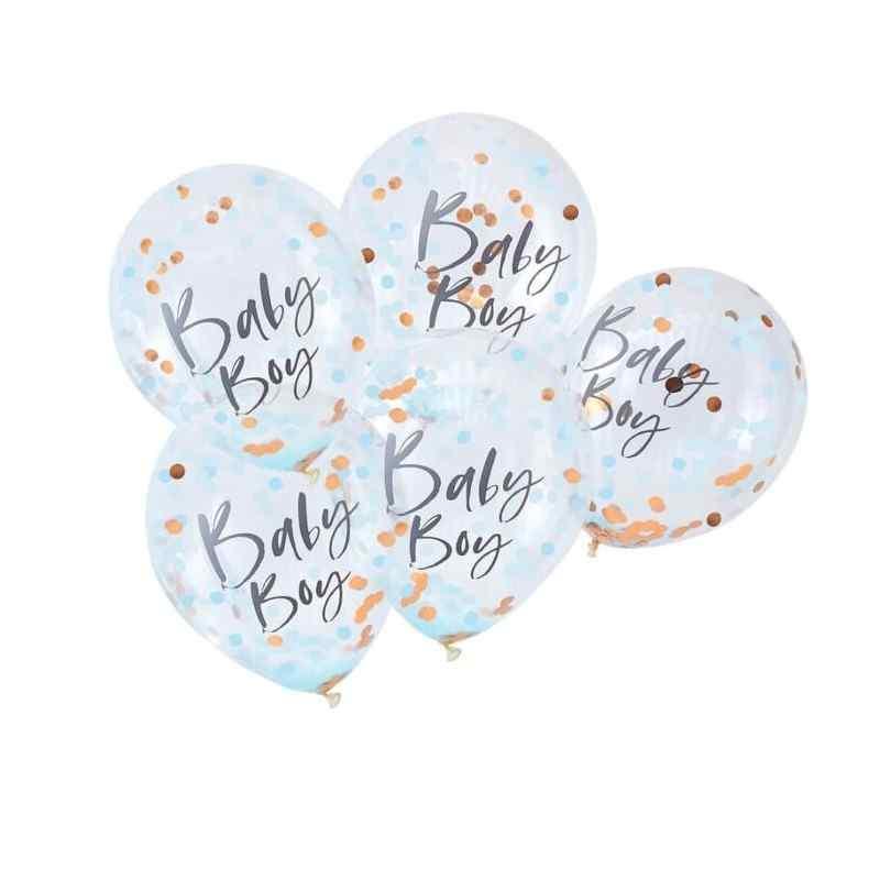 """""""Baby Boy"""" Blå/Guld  Baby Shower Konfetti Ballon"""