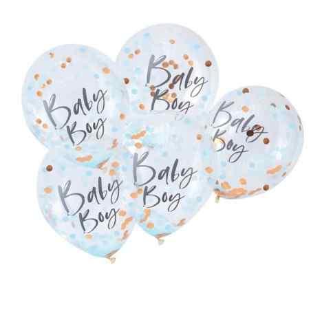 """""""Baby Boy"""" Blå/Guld  Baby Shower Konfetti Ballon - 835"""