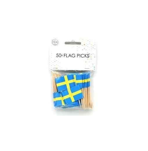 50 små flag Sverige Ljus för tårta