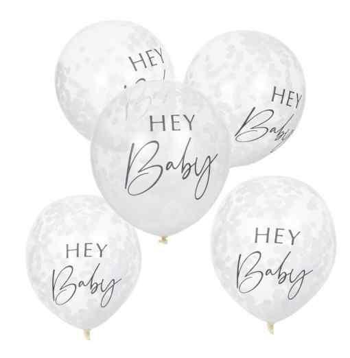 Hey Baby - Konfetti Balloner Baby shower