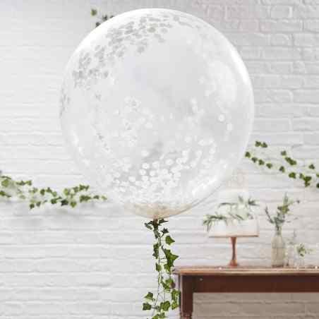 Vacker botanik - Ballonger - Enorm - Vit konfetti - 904