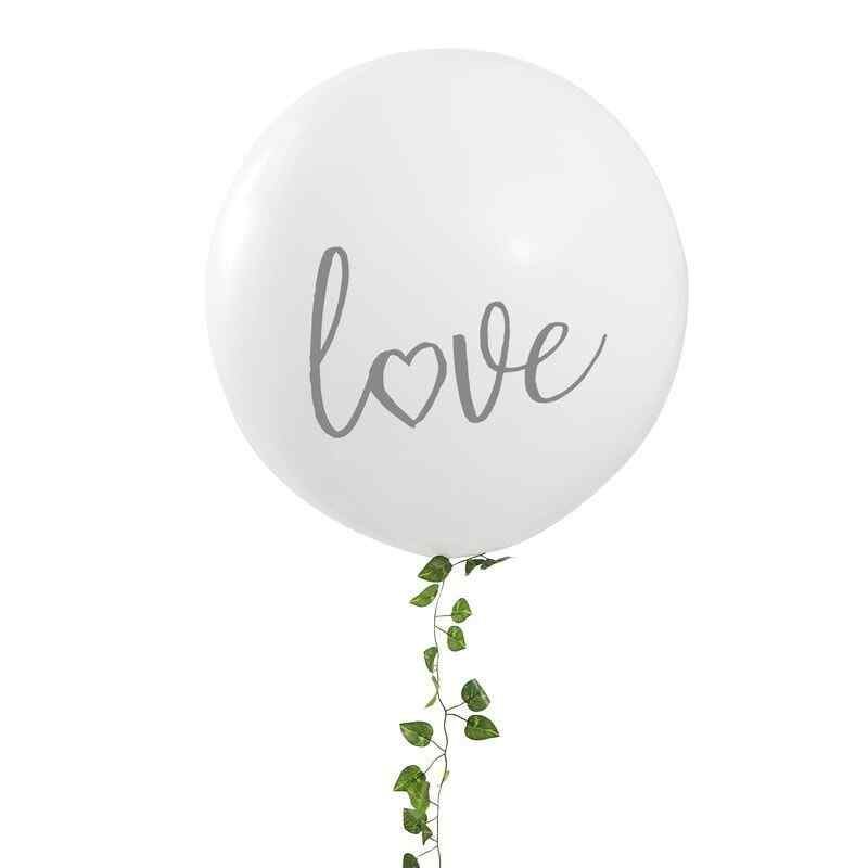 """Love"" Mega Ballong - Vit / Silver"