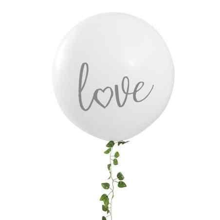 """Love"" Mega Ballong - Vit / Silver - 909"