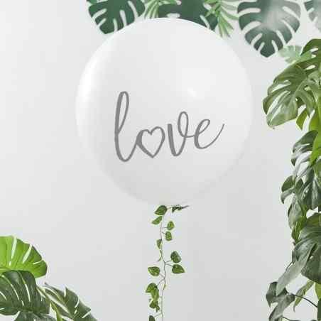 """Love"" Mega Ballong - Vit / Silver - 910"