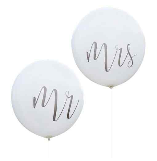 Mr & Mrs - Mega Balloner - Sølv Bryllup