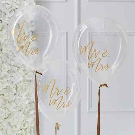 Guldbröllop - Mr & Mrs Balloons - 917