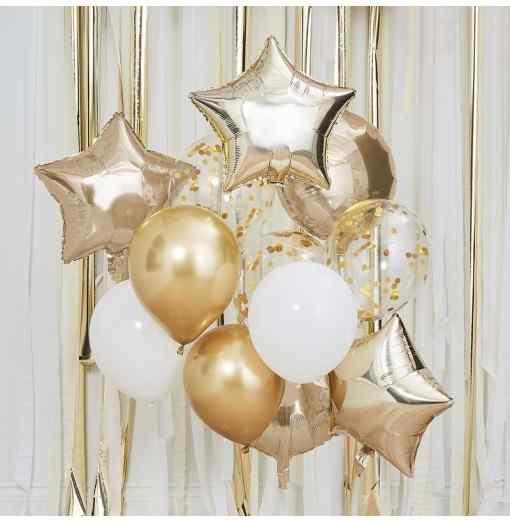 Ballon Mix - Guld og Hvide Balloner Ballong Mix